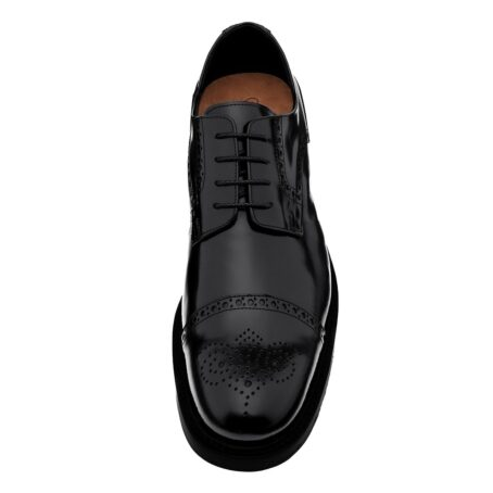 classic shiny black derby shoes with brogue decorations 5