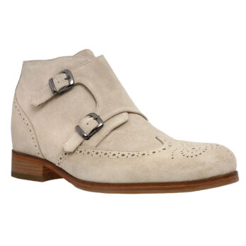 beige double buckle chukka ankle boots with brogue decorations 1