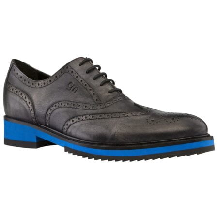 black oxford wingtip brogue shoes with blue outsole 1