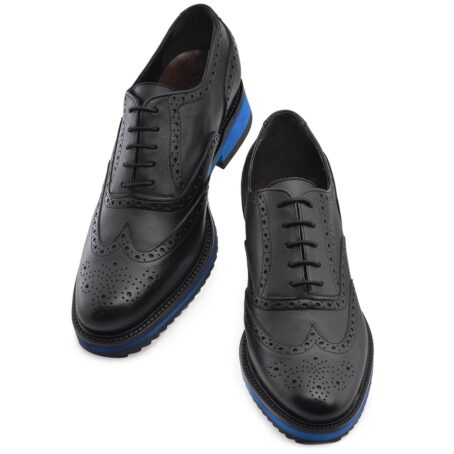 black oxford wingtip brogue shoes with blue outsole 2