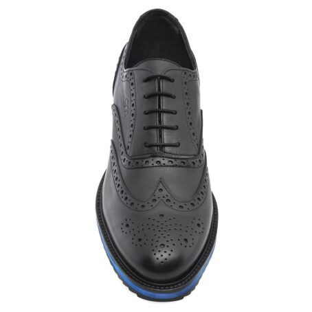 black oxford wingtip brogue shoes with blue outsole 5