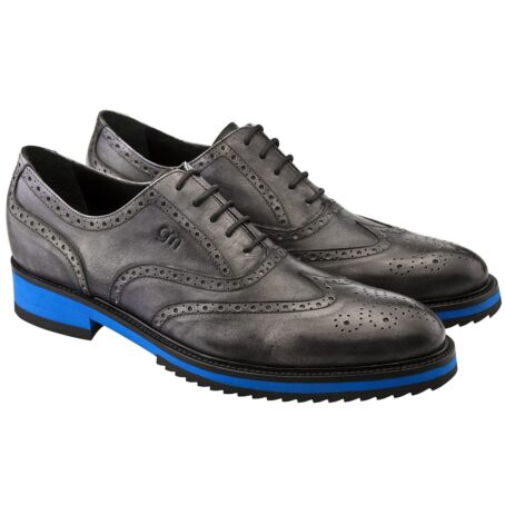 black oxford wingtip brogue shoes with blue outsole 4
