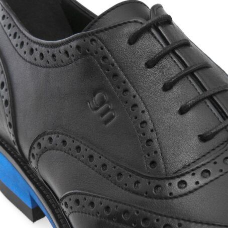 black oxford wingtip brogue shoes with blue outsole 6