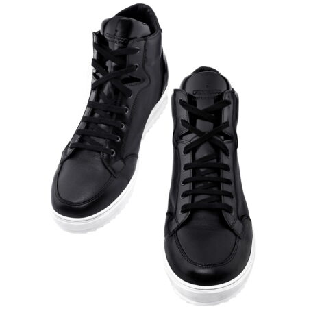black leather sneakers for man with white outsole 2