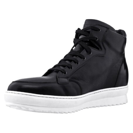 black leather sneakers for man with white outsole 3