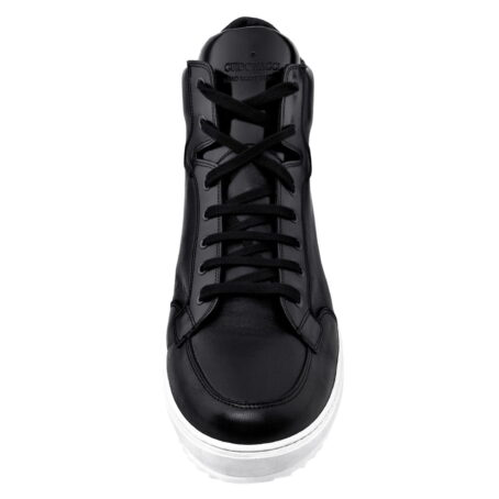black leather sneakers for man with white outsole
