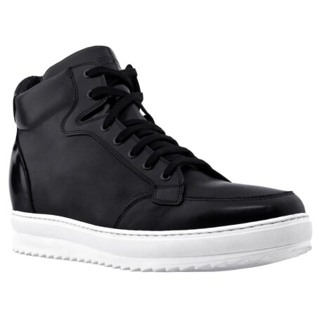 black leather sneakers for man with white outsole 1