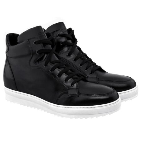 black leather sneakers for man