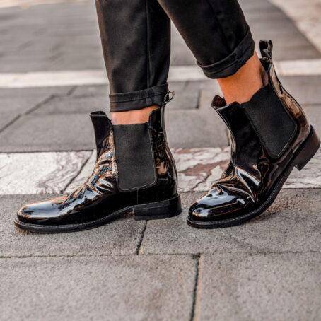 black patent chelsea boots 4