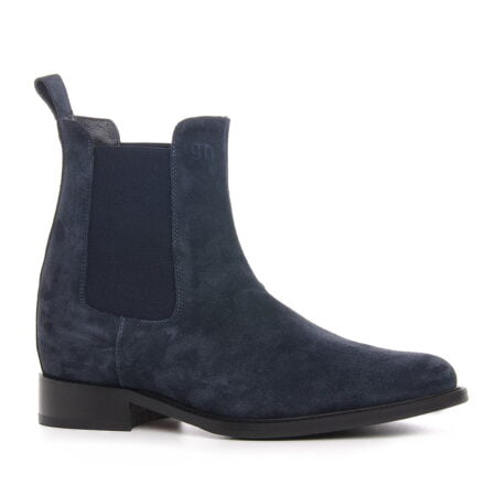 black suede chelsea boots for man with elevator insole 1