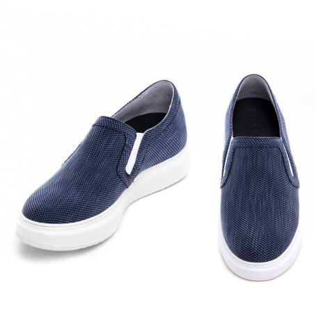 blue technical fabric slip-ons