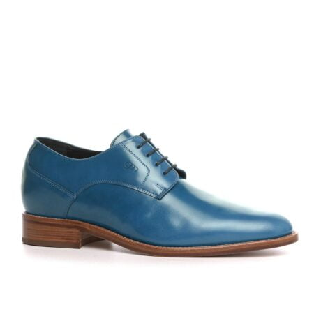 blue shiny derby dress shoes 1