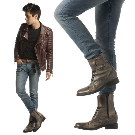 man wearing brown elevator boots in brown aged leather 6
