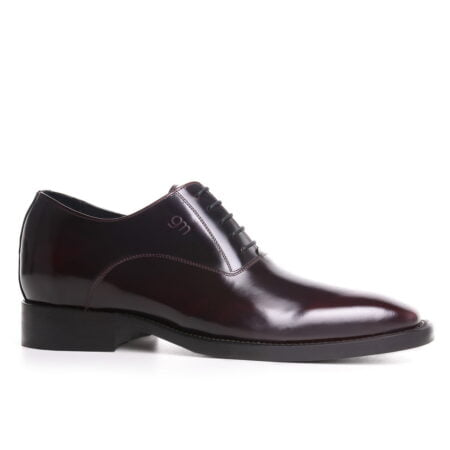 dark bordeaux patent oxford dress shoes for man