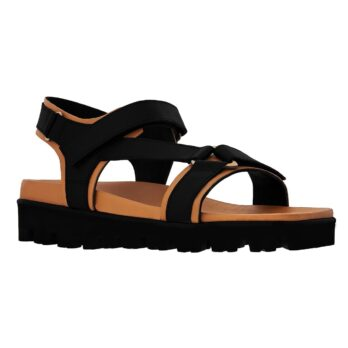 black and cognac leather sandals for man