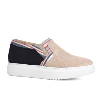 beige and black slip-ons with