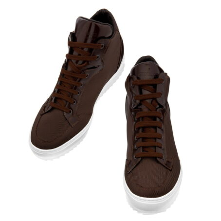 sneakers made in brown technical fabric and shiny brown leather tongue 2
