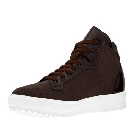 sneakers made in brown technical fabric and shiny brown leather tongue 3