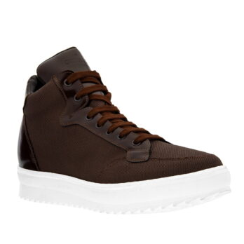 sneakers made in brown technical fabric and shiny brown leather tongue 1