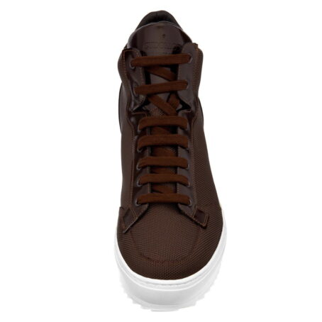 sneakers made in brown technical fabric and shiny brown leather tongue 4