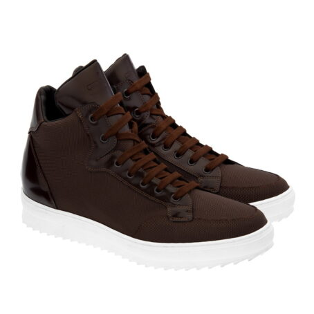 sneakers made in brown technical fabric and shiny brown leather tongue 5