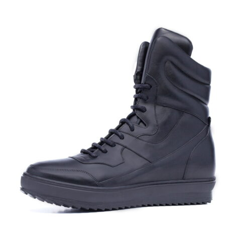 black mid-top leather sneakers 4