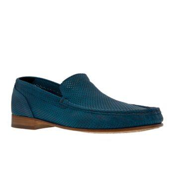 Blue mocassins with high heel for men