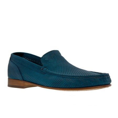 Blue mocassins with high heel for men