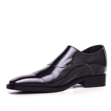 mono buckle shoes in Black Titanium effect leather 3