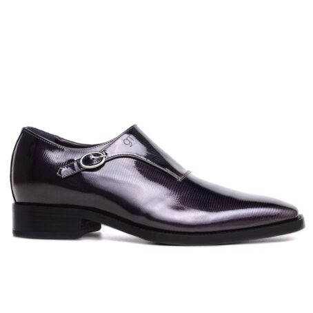 mono buckle shoes in Black Titanium effect leather