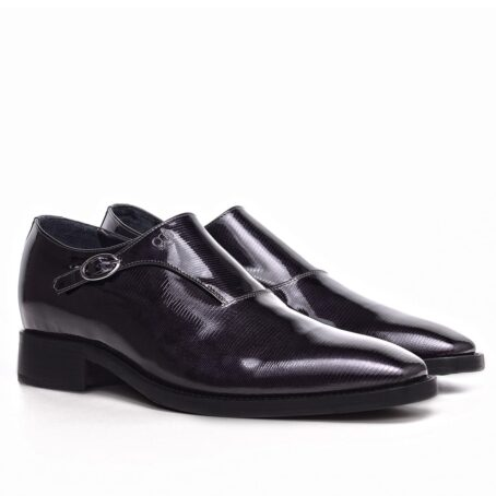 mono buckle shoes in Black Titanium effect leather 5