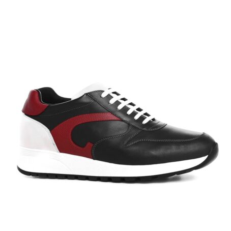 black sneakers with red leather details 1