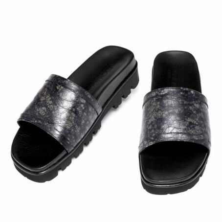 elevator sandals made in dark grey rubbered leather 2