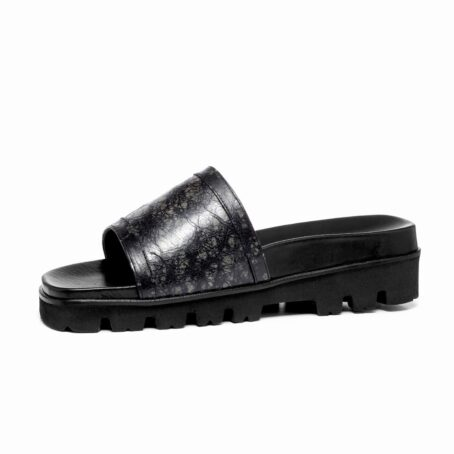 elevator sandals made in dark grey rubbered leather 3