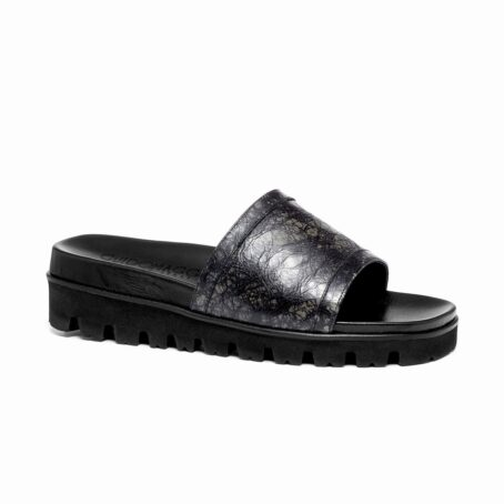 elevator sandals made in dark grey rubbered leather 1