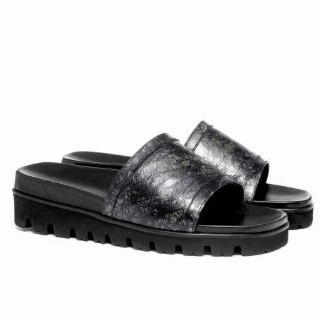 elevator sandals made in dark grey rubbered leather 5