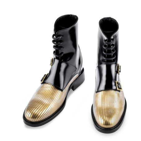 shiny black double monk strap boots with gold tip 2