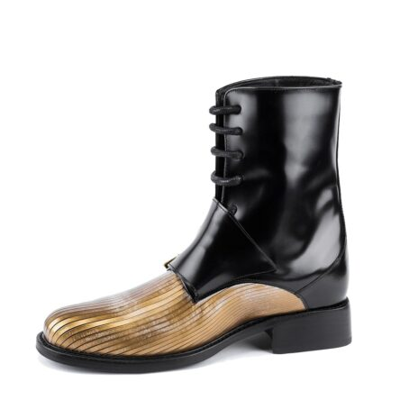 shiny black double monk strap boots with gold tip 3