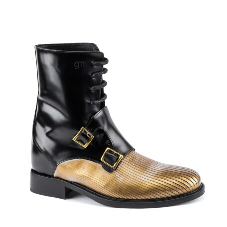 shiny black double monk strap boots with gold tip 1