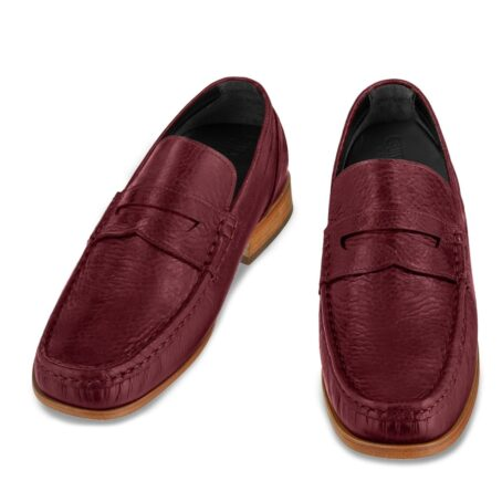 classic mocassini i intense burgundy color and stiched leather sole 2