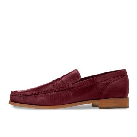 classic mocassini i intense burgundy color and stiched leather sole 3