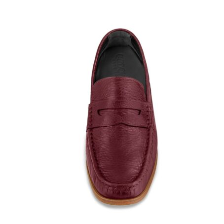 classic mocassini i intense burgundy color and stiched leather sole 4