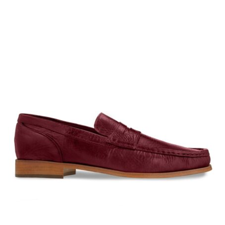 classic mocassini i intense burgundy color and stiched leather sole 1