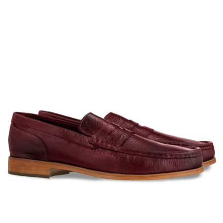 classic mocassini i intense burgundy color and stiched leather sole 5