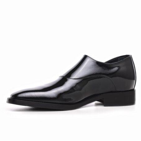 elevator mono-buckle shoes in Shiny black diamond leather 3