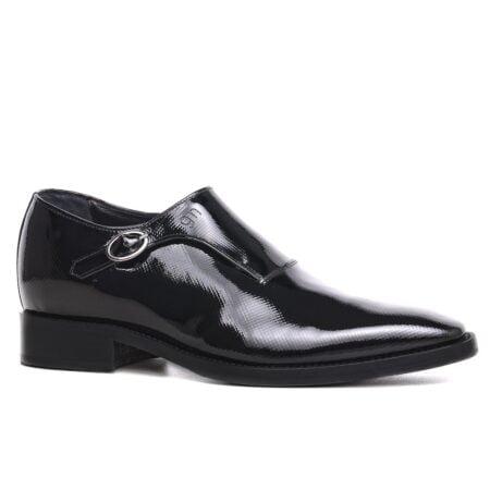 elevator mono-buckle shoes in Shiny black diamond leather 1