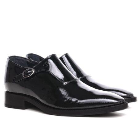 elevator mono-buckle shoes in Shiny black diamond leather 5