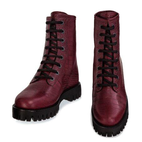 burgundy crocodile combat boots 2