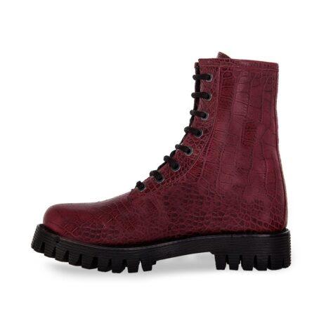 burgundy crocodile combat boots 3