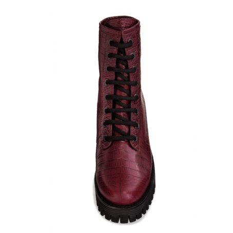 burgundy crocodile combat boots 4